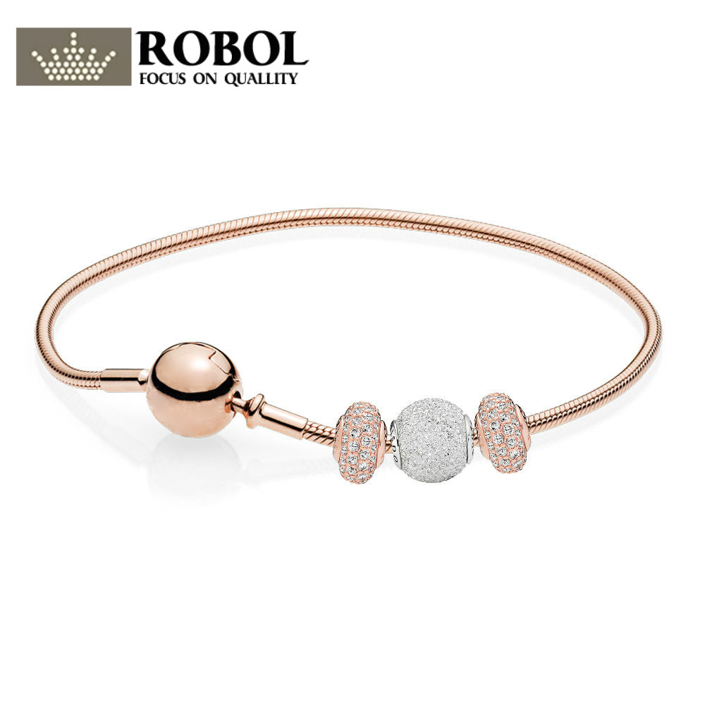 ROBOL 100% 925 Sterling Silver Jewelry New Wisdom And Confidence Bracelet Gift Set Rose Gold Series