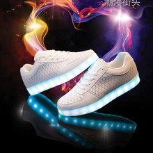 Ys 2016 Tenis Feminino Light Up Shoes Mens Trainers Glowing Led Krasovki Luminous White Women's Gumshoe Bambas Glitter H-005