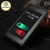 Smart View Window Business 100 Genuine Leather Flip Back Cover Case For Huawei Honor 7 With