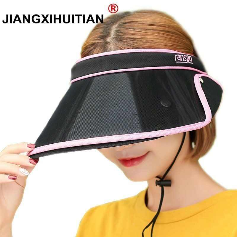 660da43b7d6 2018 New Double Hats Visor Female Summer Retractable Sun Empty Top Cap  Solid Unisex UV SPF