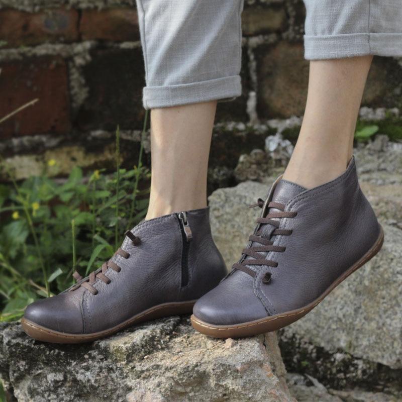Chaussures Cuir Mme Couche En À La Et Vintage Fille Plat Première Occasionnels 2 Couleur Mori Art Bottes Hiver Automne 1 Main XYrUfYa