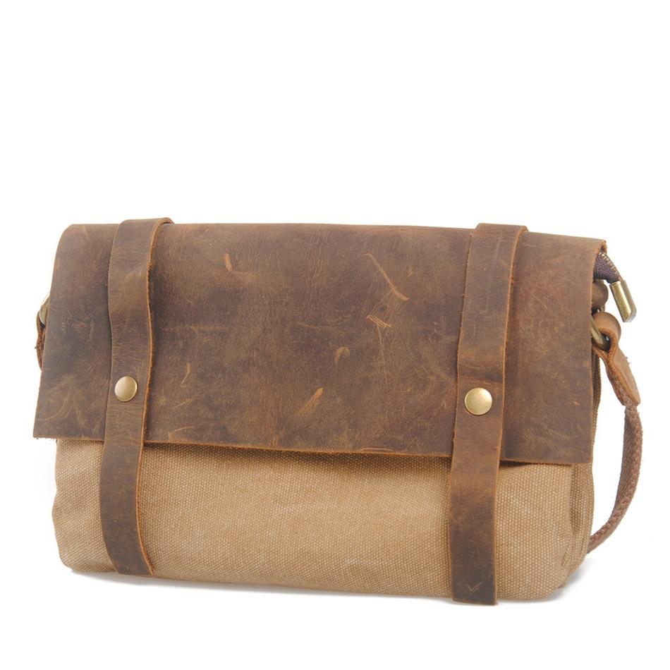 Brand Retro Canvas Crazy Horse Genuine Cowhide Men's Satchel Messenger Solid Crossbody Shoulder School Book Travel Laptop Bags
