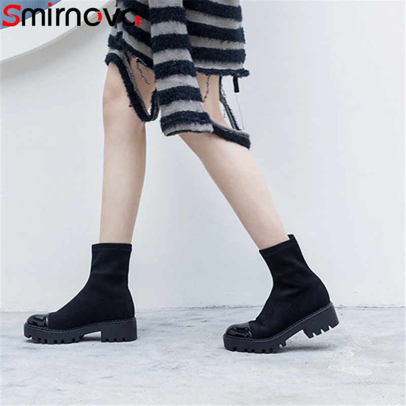 d048852d8dee Smirnova black fashion shoes woman round toe platform ankle boots square  heels faux suede leather boots