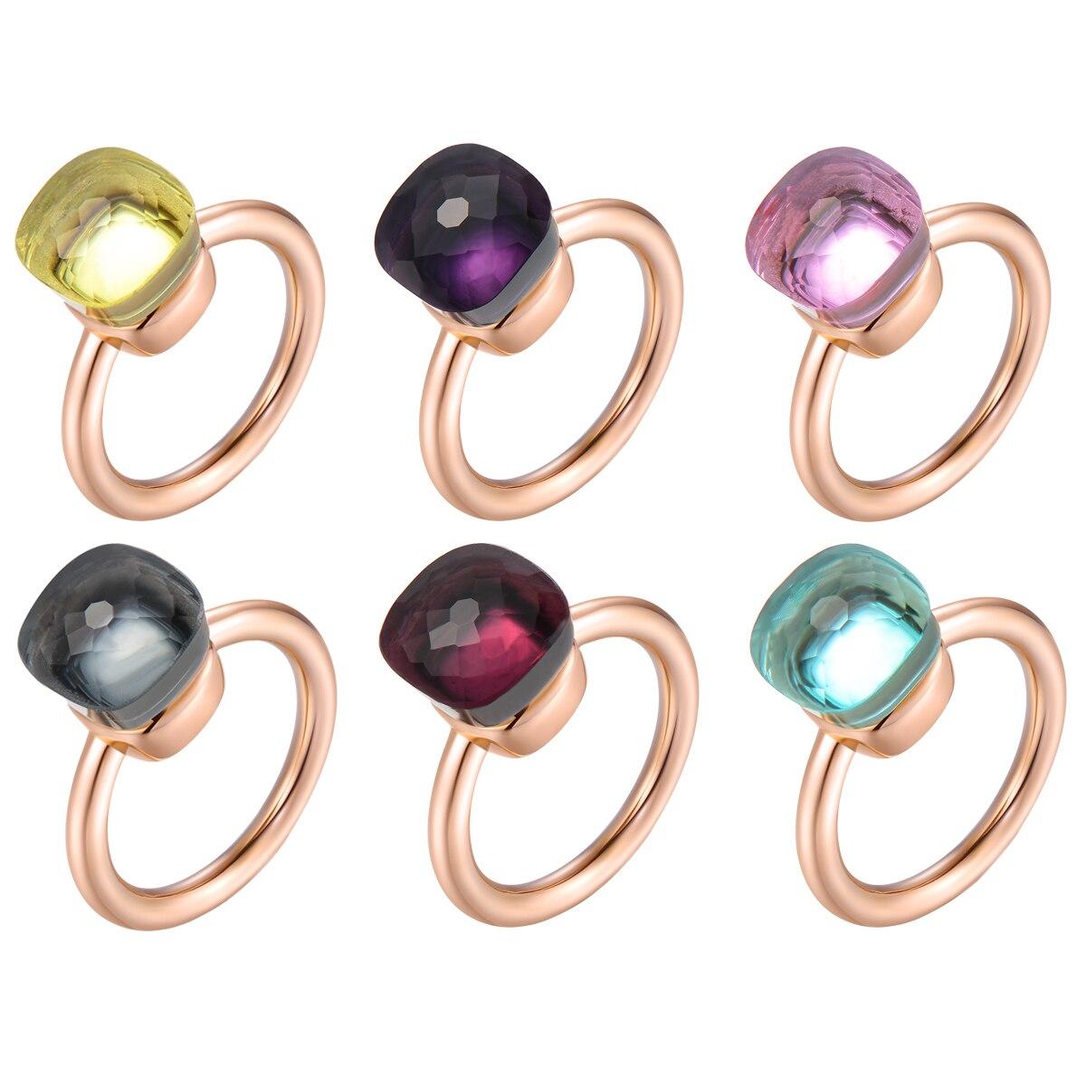 MetJakt Rose Gold Crystal Ring Solid 925 Sterling Silver Wedding Rings for Women