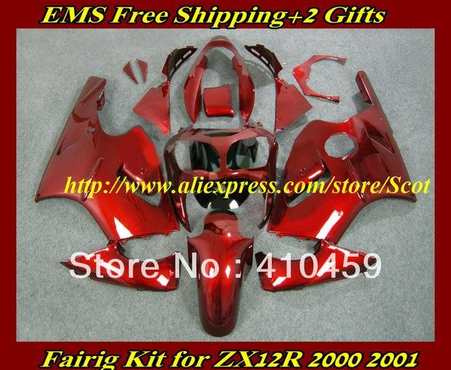 Whole Red Fairing Kit For KAWASAKI Ninja ZX12R 00 01 ZX 12R 2000 2001 ZX