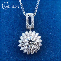 CoLife Jewelry Dazzling Moissanite Silver Pendant for Wedding 1ct F Color Moissanite Necklace Pendant 925 Silver Gem Pendant