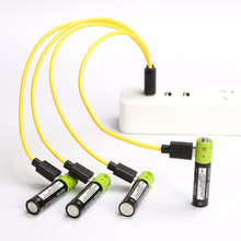 ZNTER 4PCS Mirco USB Rechargeable Battery AAA 1.5V 400mAh Toys Remote controller batteries Lithium Polymer Cell