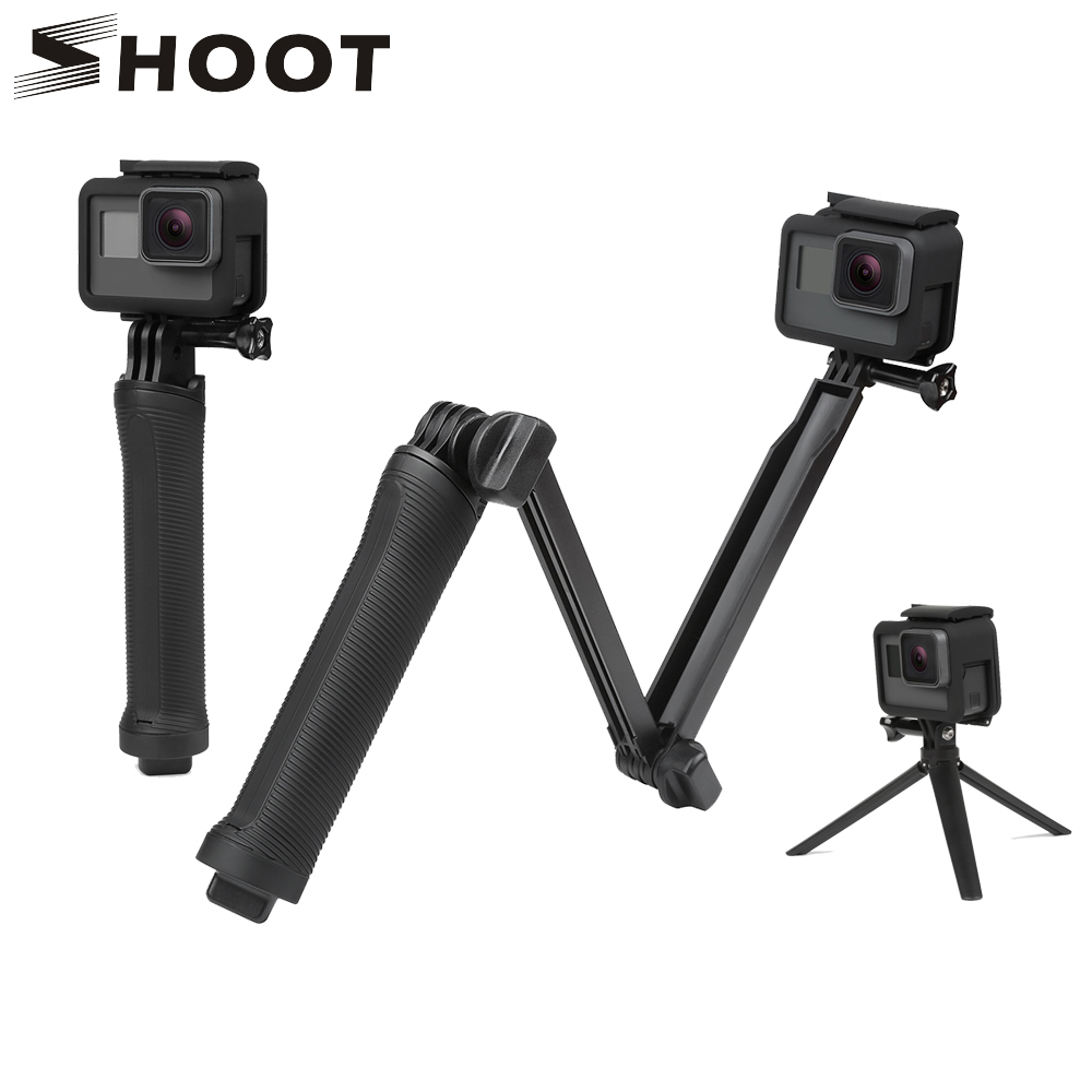 SHOOT 3 Way Grip Waterproof Monopod Selfie Stick For Gopro Hero 5 6 4 Black Session SJ4000 Xiaomi Yi 4K Camera Tripod Accessory