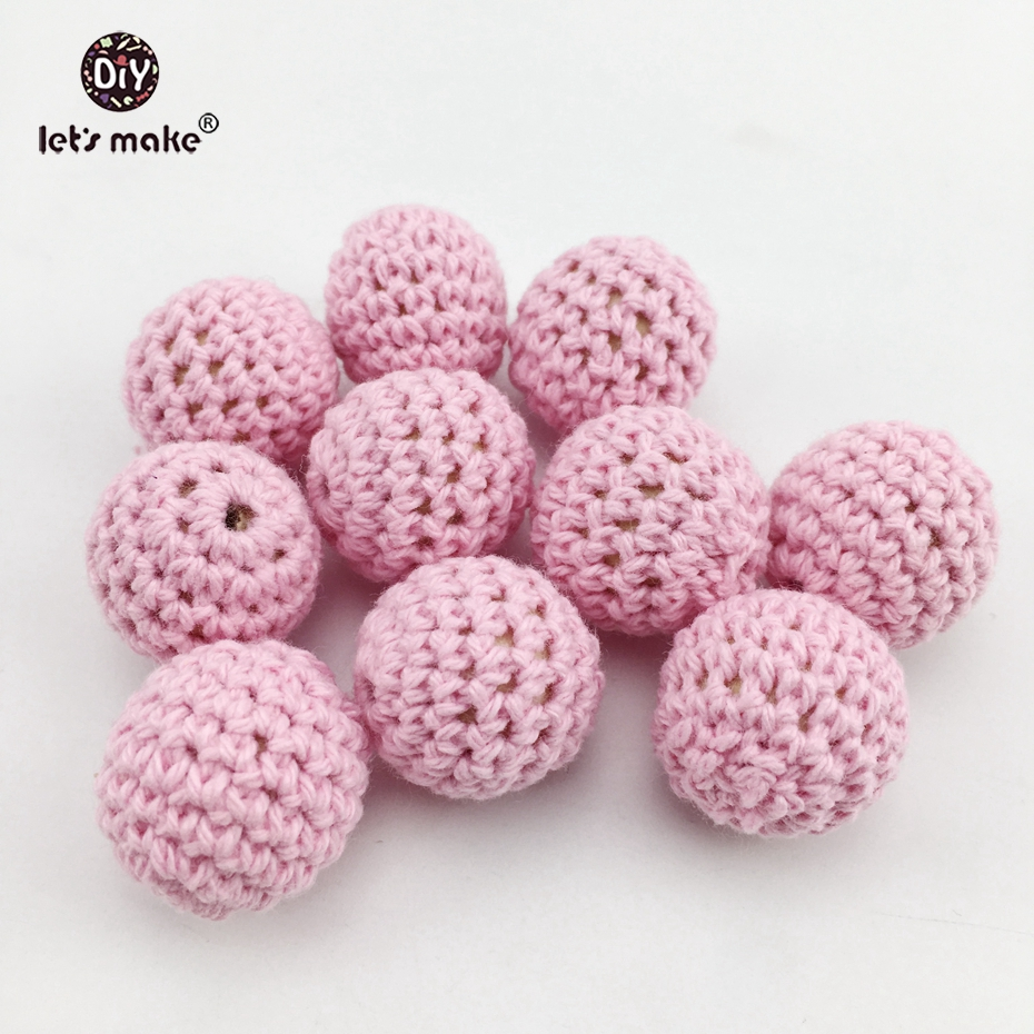 Let's Make 20mm Round Crochet Beads 5pcs DIY Nursing Necklace Accessories BPA Free Wooden Teether Baby Teether