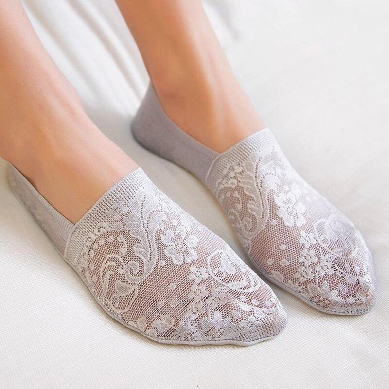 1 Pair Fashion Women Girls Summer Sock New Style Lace Flower Short Sock Antiskid Invisible 2019 Ankle Socks Slippers
