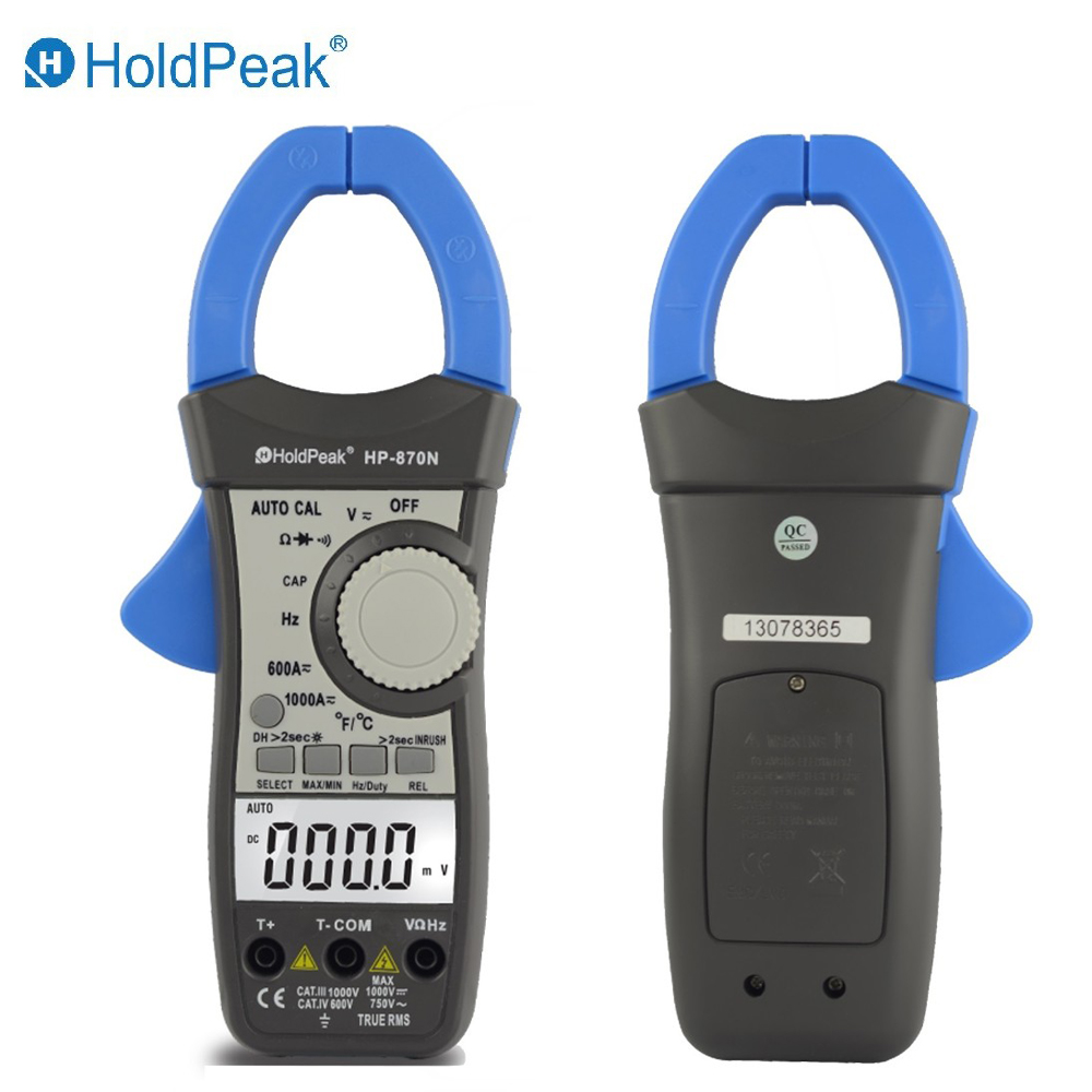 HoldPeak HP-870N Auto Range DC AC Digital Clamp Meter Multimeter  Amperimetro True RMS Frequency Backlight my68 handheld auto range digital multimeter dmm w capacitance frequency