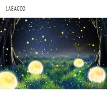 Laeacco Night Grassland Firefly Childlike Baby Portrait Photography Backdrop Customized Photographic Background For Photo Studio