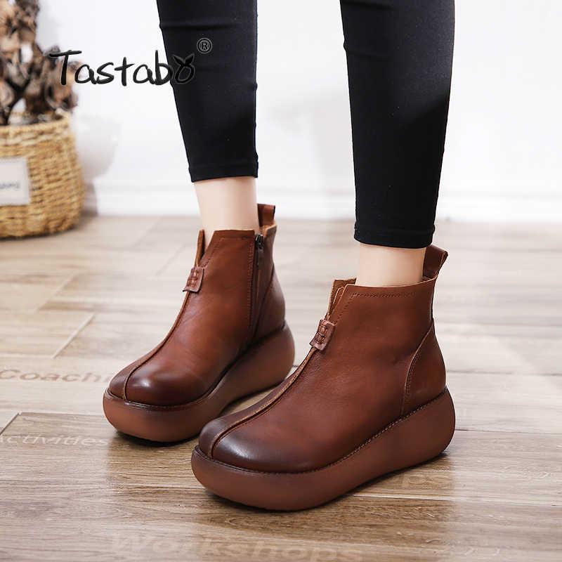 Tastabo Platformu Çizmeler Kadın El Yapımı Siyah Martin Ayakkabı Bayanlar Rahat düz ayakkabı Hakiki Deri yarım çizmeler Kadınlar için