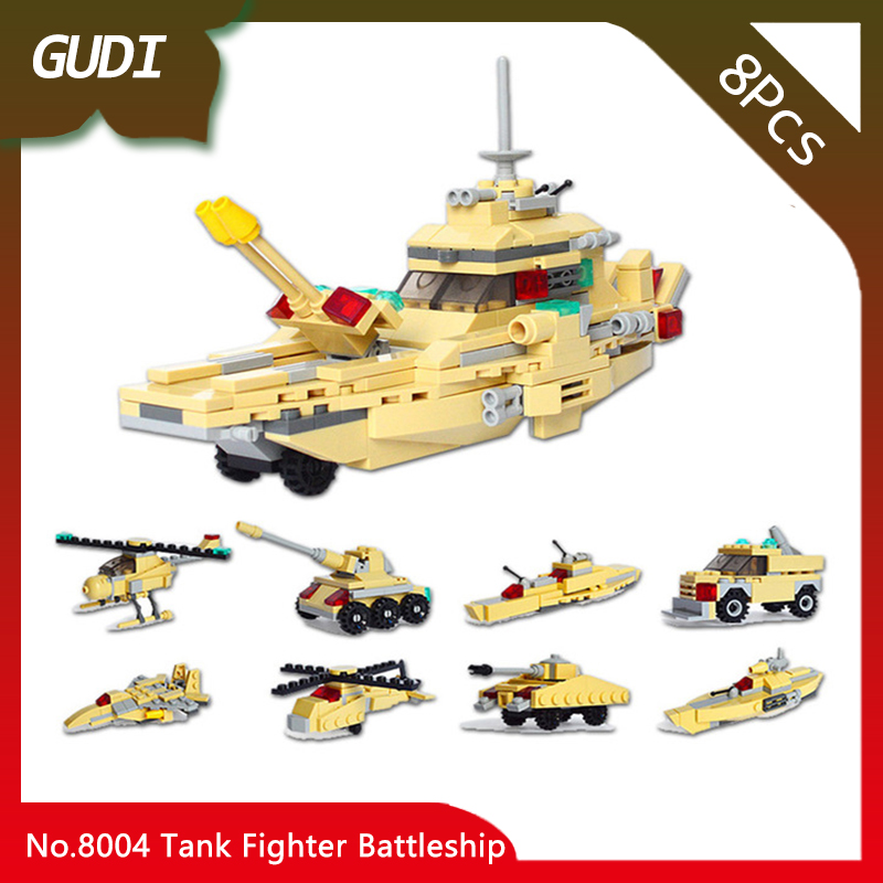 GUDI 8004 8pcs 8IN1 Military Series The Tank Fighter Battleship Model Building Blocks Set Kids Favourite Toys For Birthday Gifts