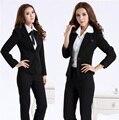 Nueva Formal oficina de diseño uniforme mujeres profesionales desgaste del trabajo conjunto chaqueta trajes de pantalones de moda otoño invierno pantalones del traje más tamaño