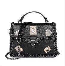 Pu Lock Badge Rivet handbags fashion Square Bag for Women New shoulder bag Messenger