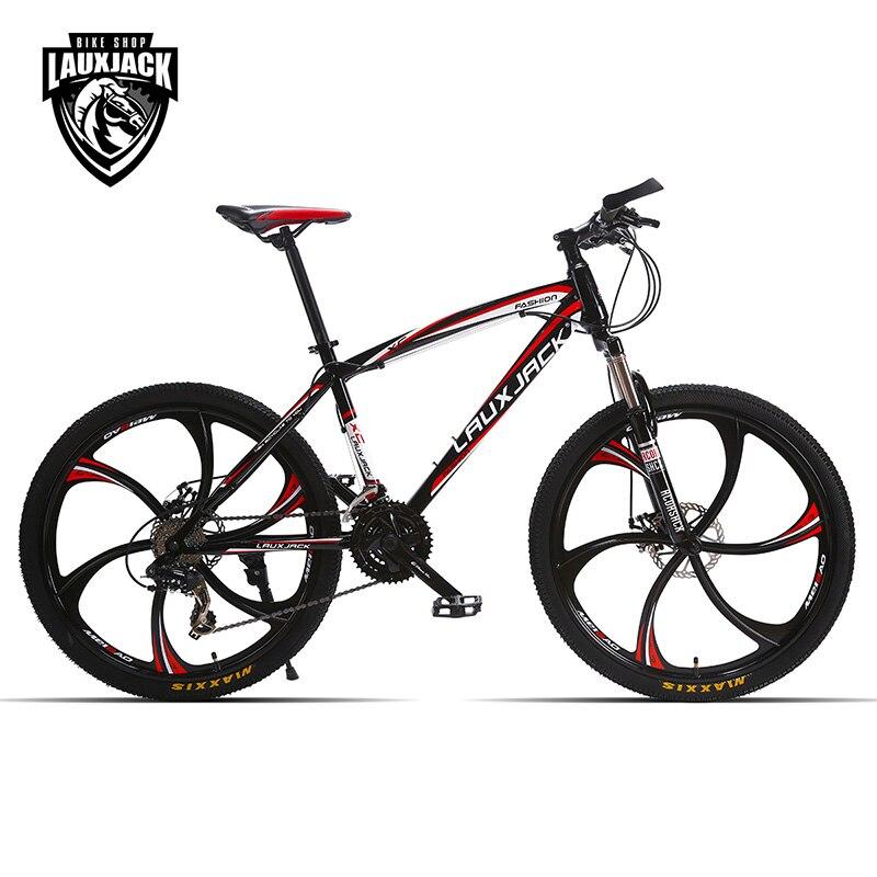 LAUXJACK Mountain bike in acciaio di per sé 24 velocità Shimano freni a disco meccanici 26