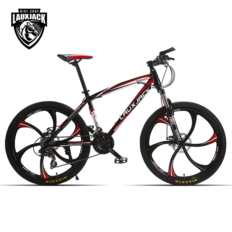 LAUXJACK Mountain bike steel itself 24 speed Shimano mechanical disc brakes 26 alloy wheels lauxjack mountain fat bike steel frame