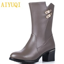 AIYUQI 2019new women's winter boots. big size  42 43 genuine leather women's snow boots. wool motorcycle boots women Party shoes цена и фото