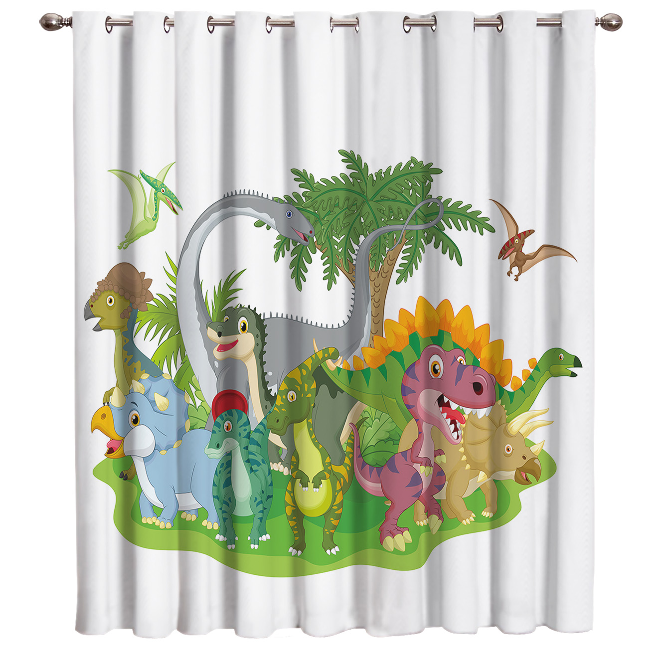 Colour Dinosaur Drawings Window Treatments Curtains Valance Room Curtains Large Window Living Room Bedroom Kitchen Indoor Floral