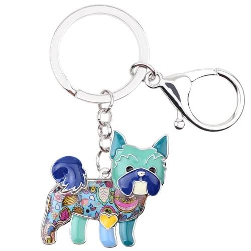 WEVENI Metal Yorkie Yorkshire Dog Key Chain Key Ring Bag Charm Car Key Holder New Enamel Keychain Jewelry For Women Bijoux
