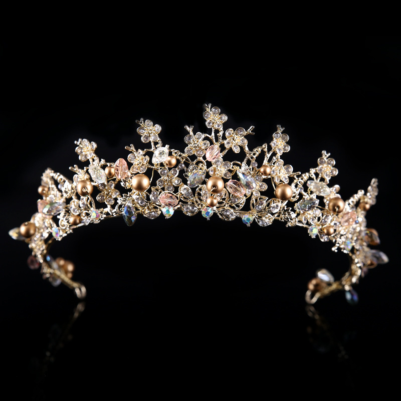 Queen Crown wedding hair accessories flower handmade tiara headband Rhinestone Bridal Tiara Baroque headpiece rhinestone pearl flower bridal crowns handmade vintage gold tiara headband crystal diadem crown wedding hair accessories