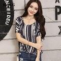 Korean Fashion 2016 Black White Striped Print Female T Shirt Women Summer Tops Loose Cotton T-Shirt For Women Plus Size XXXL