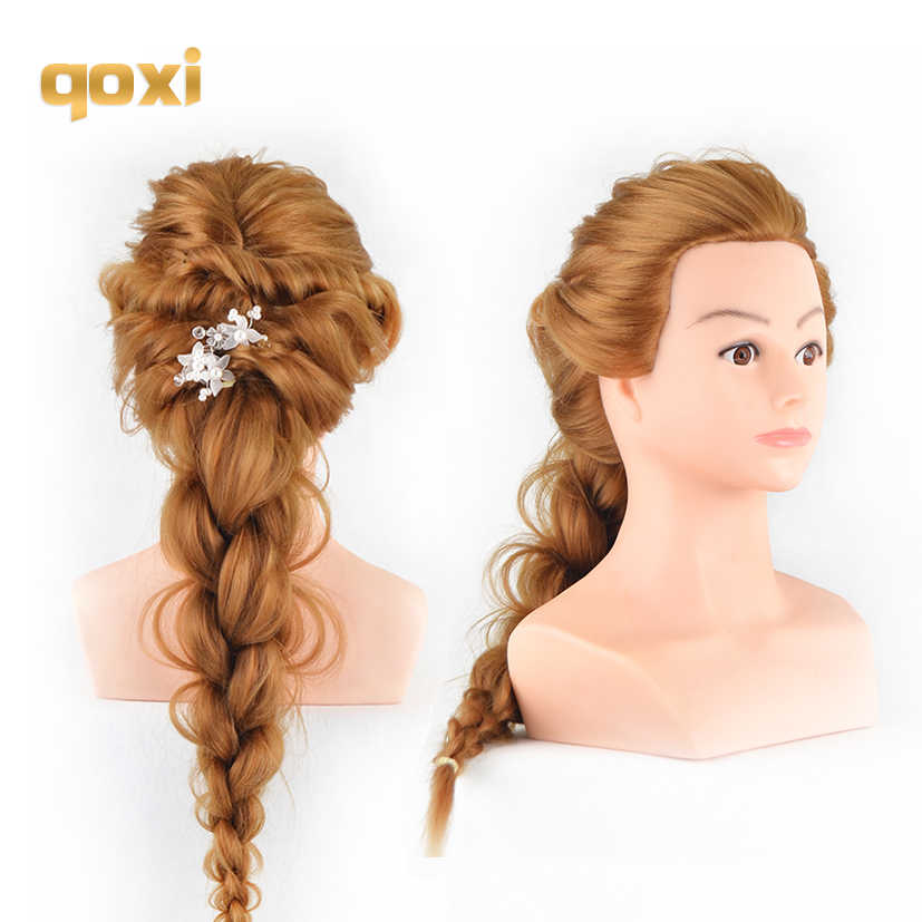 Qoxi Professional training heads with long thick hairs practice Hairdressing mannequin dolls hair Styling maniqui With shoulders