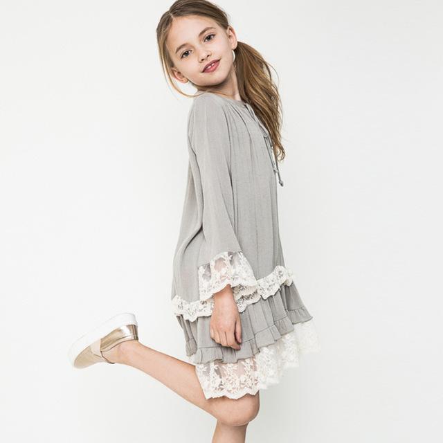 Pêndulo meninas lindo vestido boemia crochê trajes roupas idade 13 outono vestido de verão princesa meninas adolescentes moda vestidos extravagantes