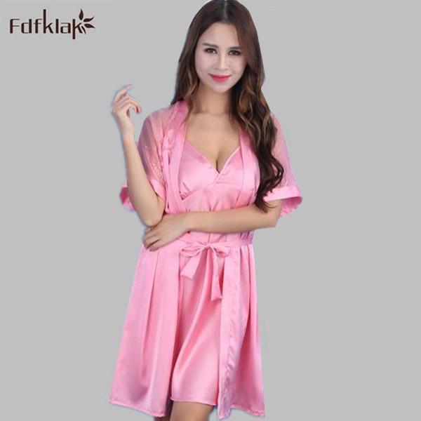 Summer short sleeve bathrobe for women lace silk sleepwear robe ...