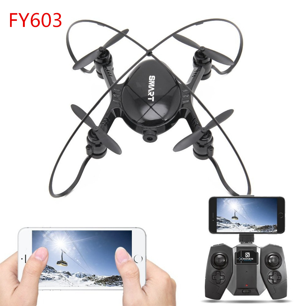 Newest FY603 RC Mini Drone With WiFi FPV Camera 2.4GHz 4CH 6-axis Gyro RTF Altitude Hold Mode Quadcopter Vs H37 Rc Helicopter mini rc global drone 2 4g 6 axis x183 gyro quadcopter with 2mp wifi fpv hd camera gps brushless mode remote control toys gifts