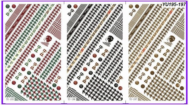 3 pack/lote agua Decal nail art nail sticker chorlito lazo redondo ...