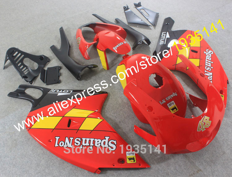 Hot Sales,Plastic kit For Aprilia RS 125 Red black yellow 2001 2002 2003 2004 2005 RS125 Fairing kit 01 02 03 04 05 body Cowling