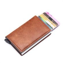 ZOVYVOL PU Leather Card Wallet Smart Crazy Horse RFID Blocking Aluminum Single Box Holder Multifunction Slim men wallet