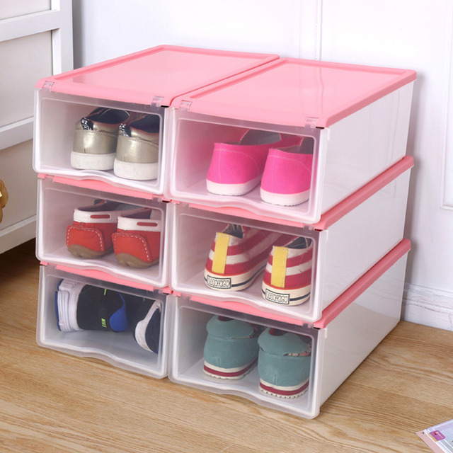 NEW Multifunction Color Clamshell Type Caja Para Zapatos Plastic Shoe Box  Storage Shoebox Household Case For