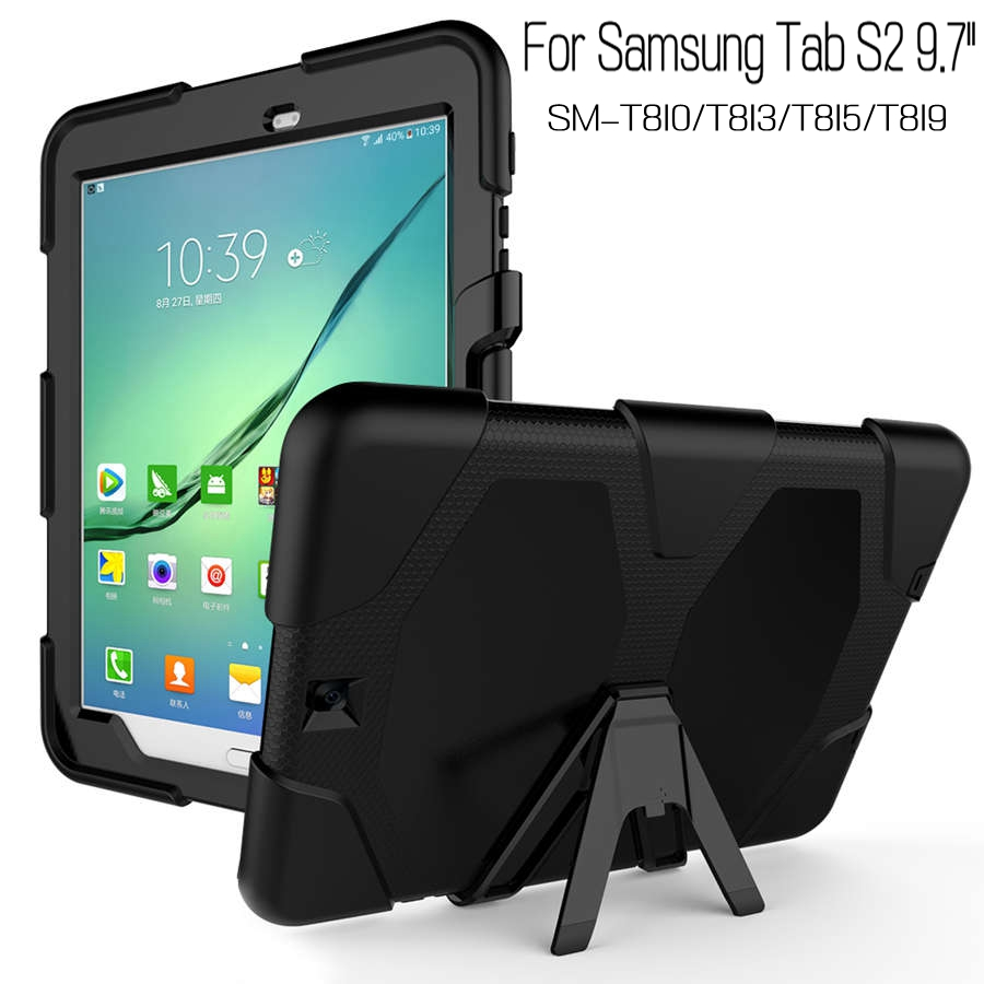 High Quality Hybrid Army Heavy Duty Silicone Cover for Samsung Galaxy Tab S2 T810 T813 T815 T819 9.7 Tablet Funda Case+Free Pen