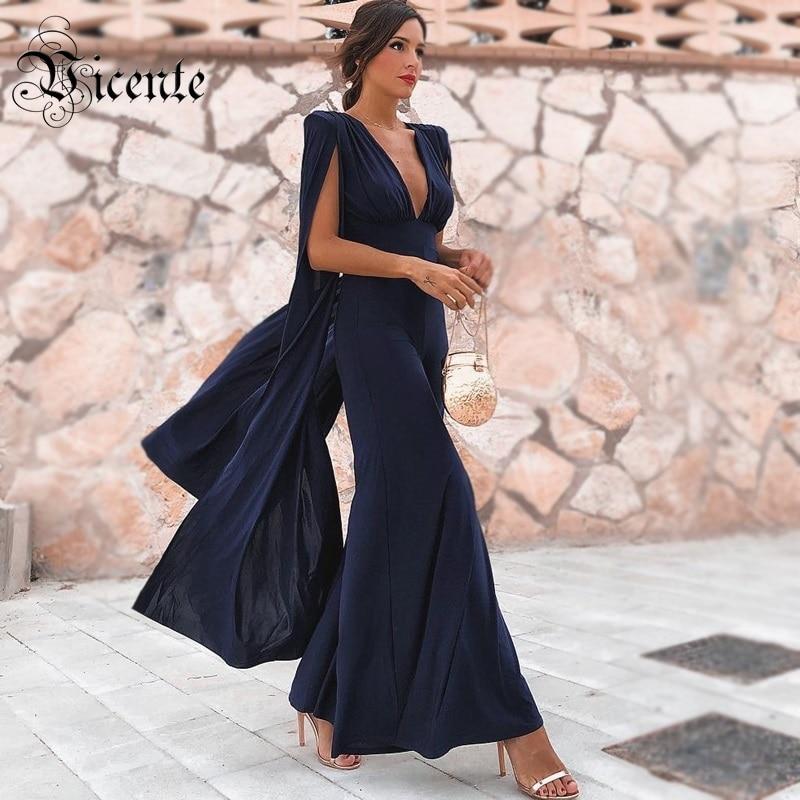 Vicente All Free Shipping 2019 New Navy Blue Jumpsuit Cloak Sleeves Design V Neck Backless Celebrity