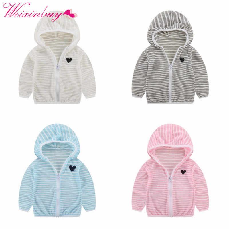 קיץ סתיו ברדס תינוק מעיל פסים חוף לנשימה קרם הגנה מעיל עבור בני ילדה בגדי ילדה מעיל