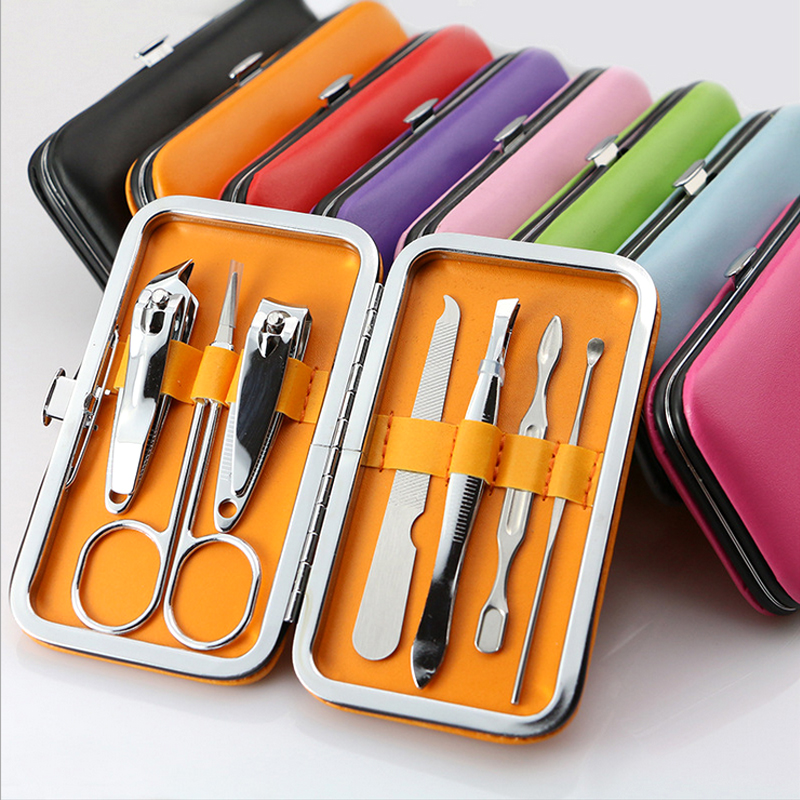 7 stk. Reise Mini Nail Clipper Cutter High Quality Portable Rustfritt stål Nail Art Manicure Set