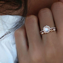 Women Rings Jewelry Vintage Retro Female Gold Filled Moonstone Engagement Party Set Wedding