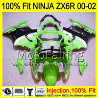8Gifts Injection mold Body For KAWASAKI NINJA ZX 6R 00 02 INJ176 ZX 6R ZX6R 00 01 02 ZX636 2000 2001 2002 Fairing Green black