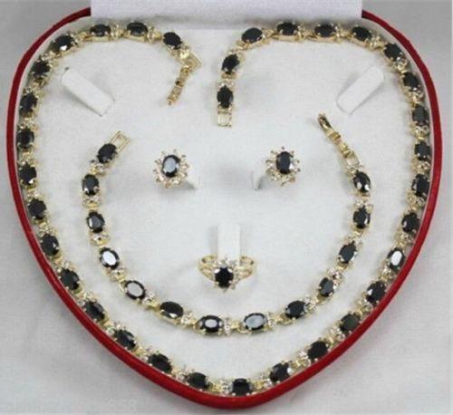 Vente chaude nouveau Style > > > > > vrai cadeau agate noire des femmes boucle d'oreille Bracelet collier anneau
