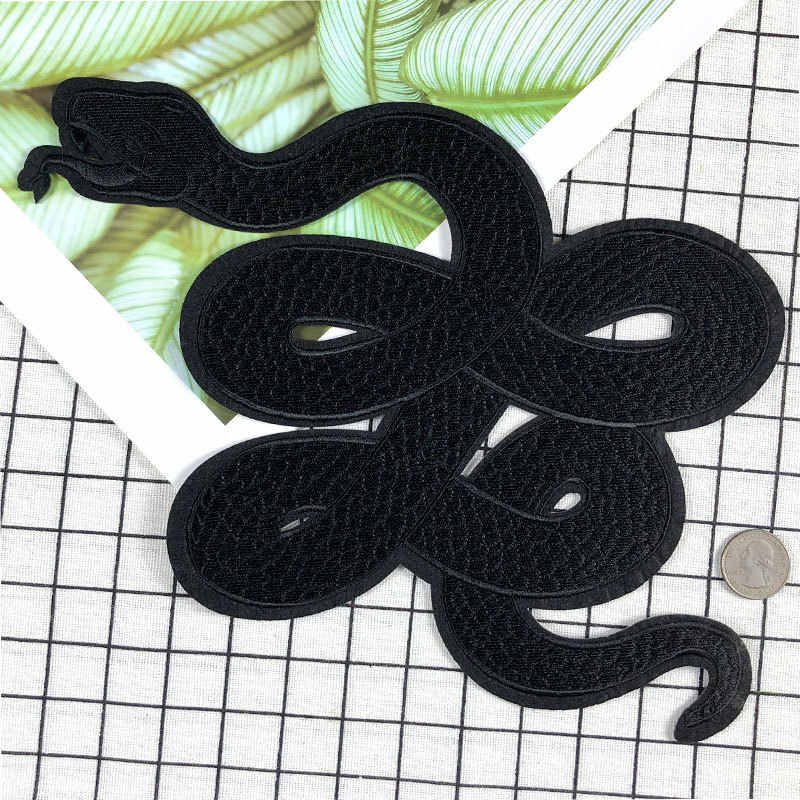 PGY 1 Pcs large Stickers For Clothes Patches Snake Embroidery Patch DIY Patches For Clothing Applique Embroidery Dark Patches