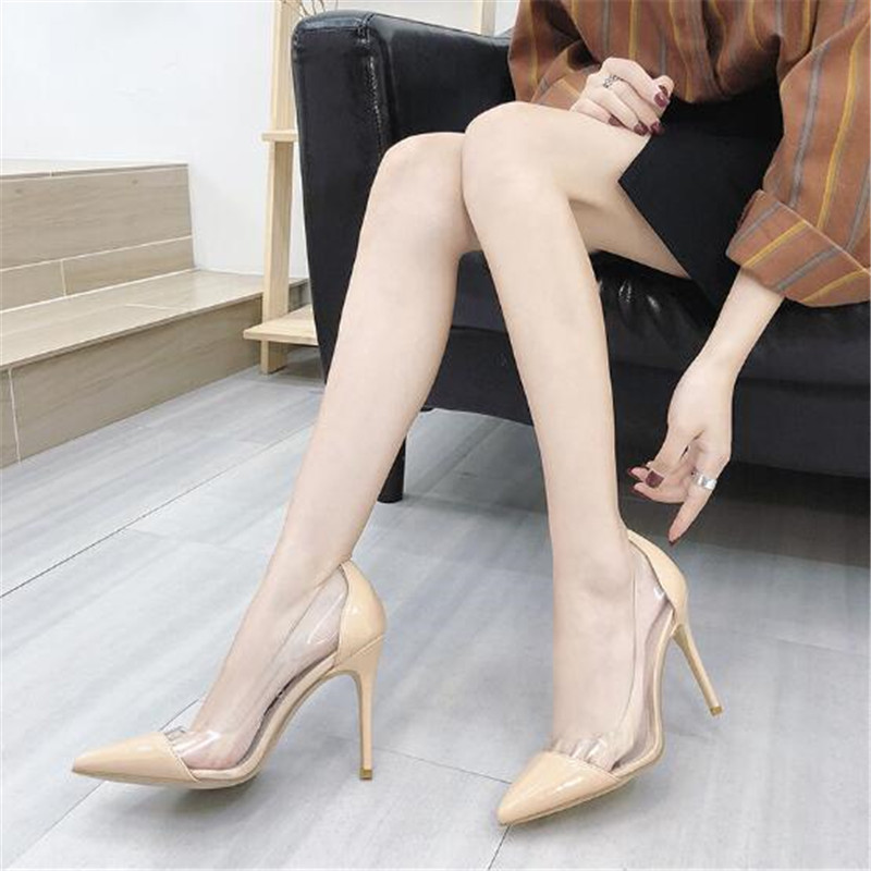 Brand Women Pumps Clear PVC High Heels Sandals Point Toes Stilettos Pumps Nightclub Dress Work Shoes Woman Plus Size