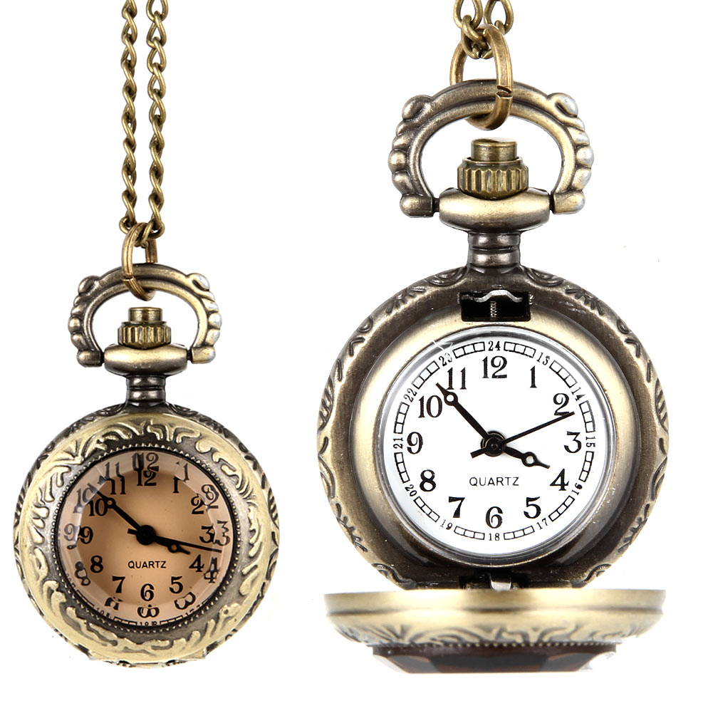 Fashion Men Women Vintage Quartz Pocket Watch Alloy Glass Dome Necklace Pendant Unisex Sweater Chain Clock Gifts LXH