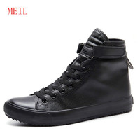 Men Elevator Shoes Height Increasing 8 CM Black White High Top Sneakers Men Ankle Boots Lace Up Leather Shoes Men Trainers