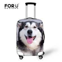 FORUDESIGNS Travel Luggage Cover Cute Husky Dog Print 18-32 inch Travel Case Cover Dust Elastic Dustproof Suitcase Covers B