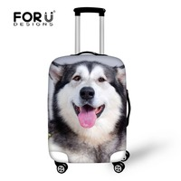 FORUDESIGNS Elastic Travel Luggage Cover Cute Husky Dog Print 18 30 Inch Travel Case Dust Cover