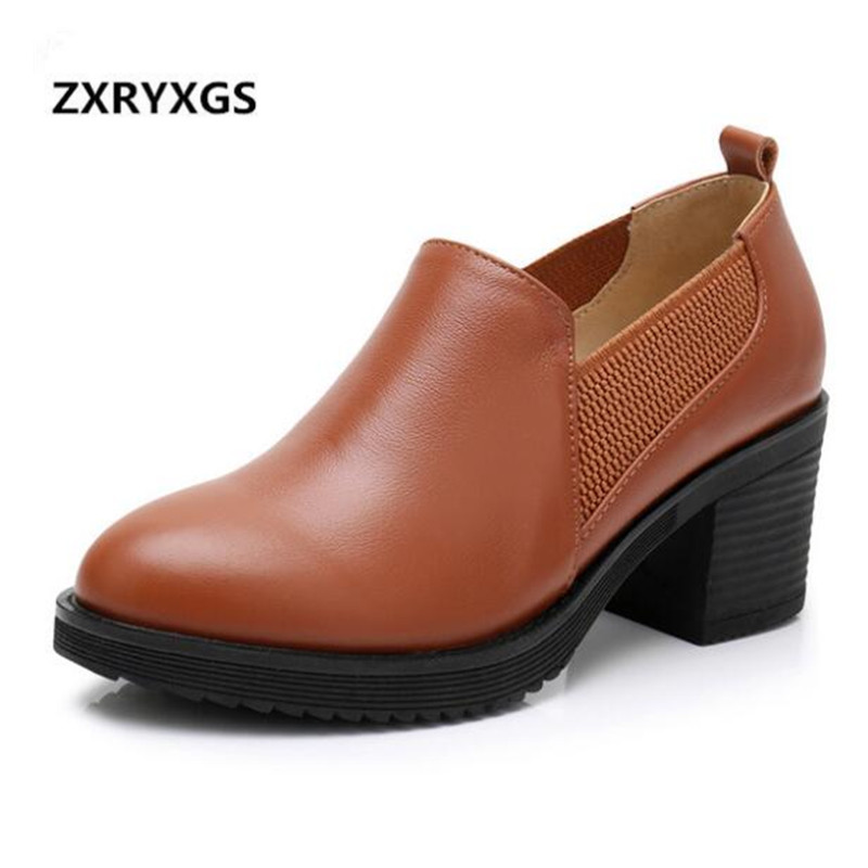 ZXRYXGS Brand Shoes Woman Thick with High Heels 2019 New Spring Single Fashion Shoes Ladies Plus Size Genuine Leather Shoes WildZXRYXGS Brand Shoes Woman Thick with High Heels 2019 New Spring Single Fashion Shoes Ladies Plus Size Genuine Leather Shoes Wild