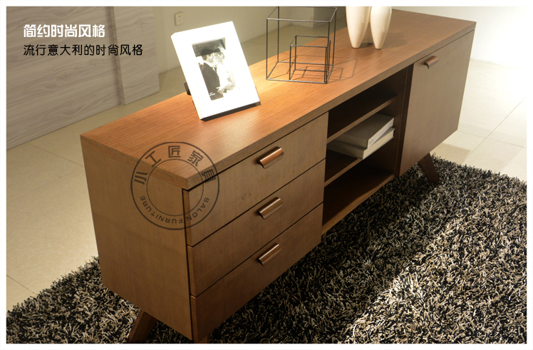 Online Shop Small artisan wood veneer furniture simple and stylish Italian  leather Continental sideboard cabinet IKEA small households  Aliexpress  Mobile